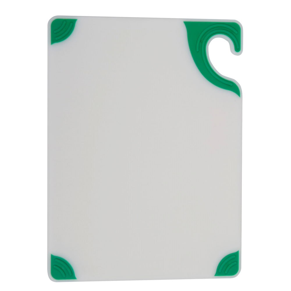 "San Jamar CBGW152012GN Cutting Board - Green Anti-Slip Corners, Hook, 15x20x1/2"", White"