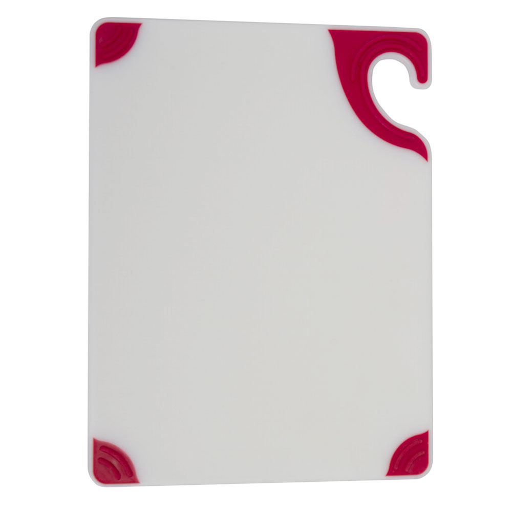 San Jamar CBGW152012RD Saf-T-Grips Cutting Board, 15 x 20 x 1/2 in, NSF, White w/ Red Corners