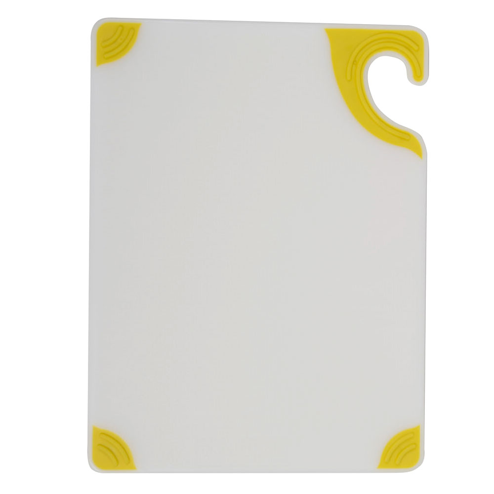 San Jamar CBGW152012YL Saf-T-Grip Cutting Board, 15 x 20 x 1/2 in, NSF, White w/ Yellow Corners