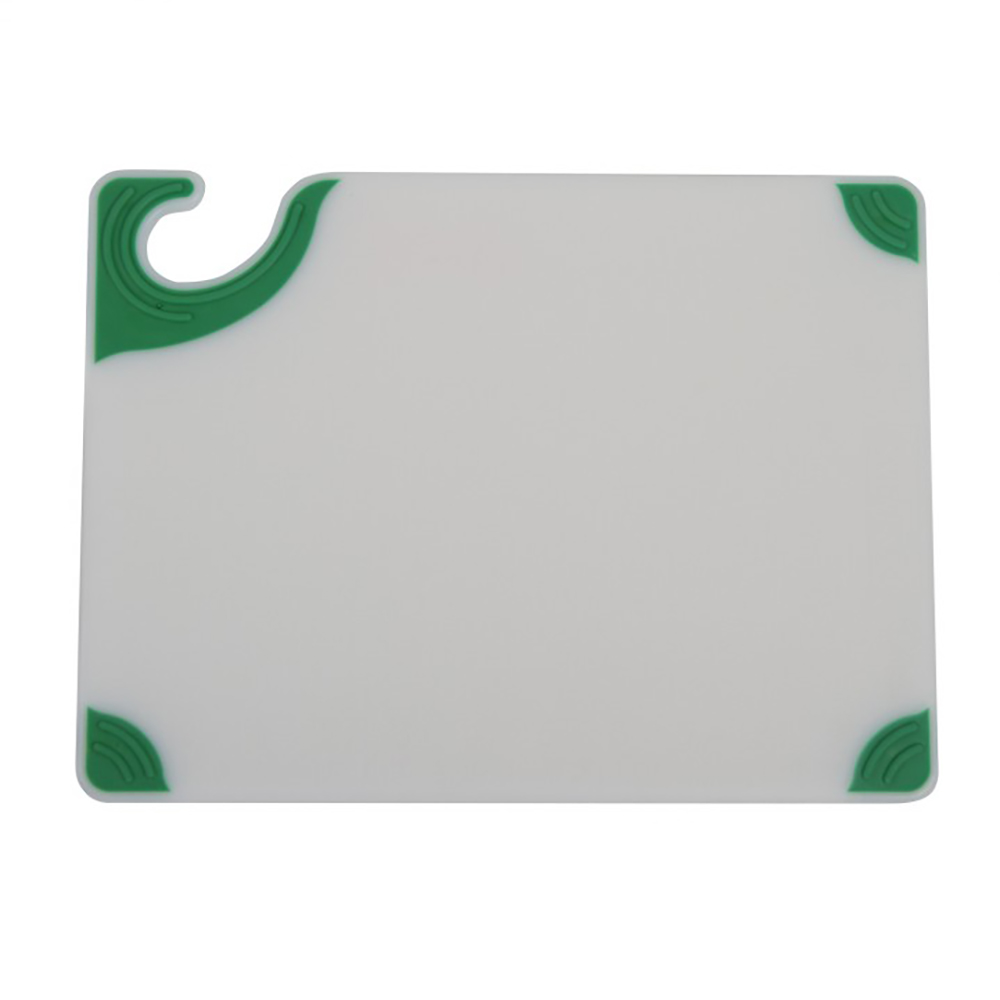 San Jamar CBGW912GN Saf-T-Grip Cutting Board, 9 x 12 x 3/8 in, NSF, White w/ Green Corners