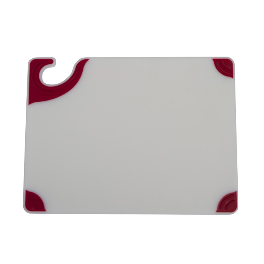 "San Jamar CBGW912RD Cutting Board - Red Anti-Slip Corners, Hook, 9x12x3/8"", White"