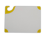 San Jamar CBGW912YL Saf-T-Grip Cutting Board, 9 x 12 x 3/8 in, NSF, White w/ Yellow Corners