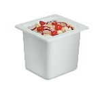 "San Jamar CI7001WH Chill-It Refrigerant Filled Food Pan - 1/6 Size, 6"" Deep, White"