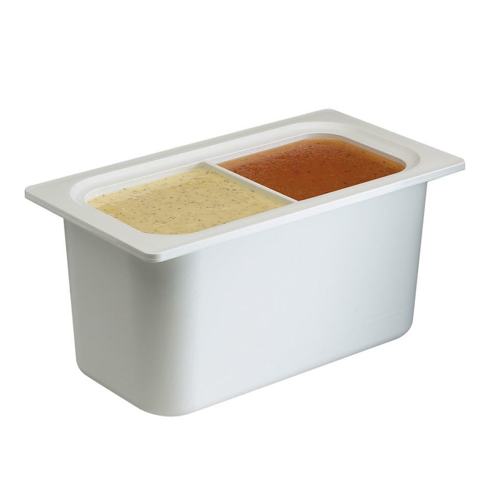 "San Jamar CI7002WH Chill-It Refrigerant Filled Food Pan - 1/3 Size, 6"" Deep, White"