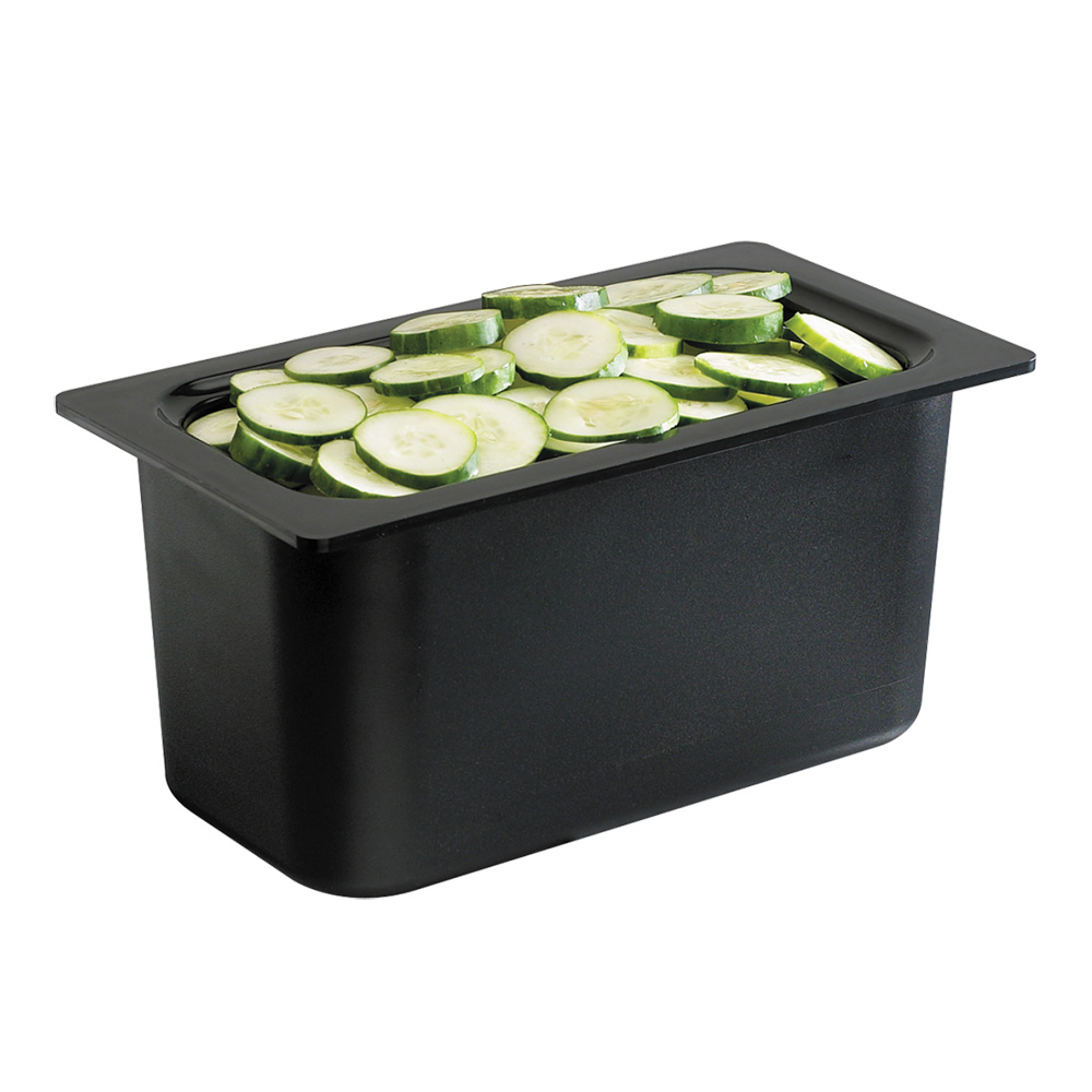 San Jamar CI7003BK 1/3-Size Refrigerant Filled Food Pan, 6-in Deep, Black