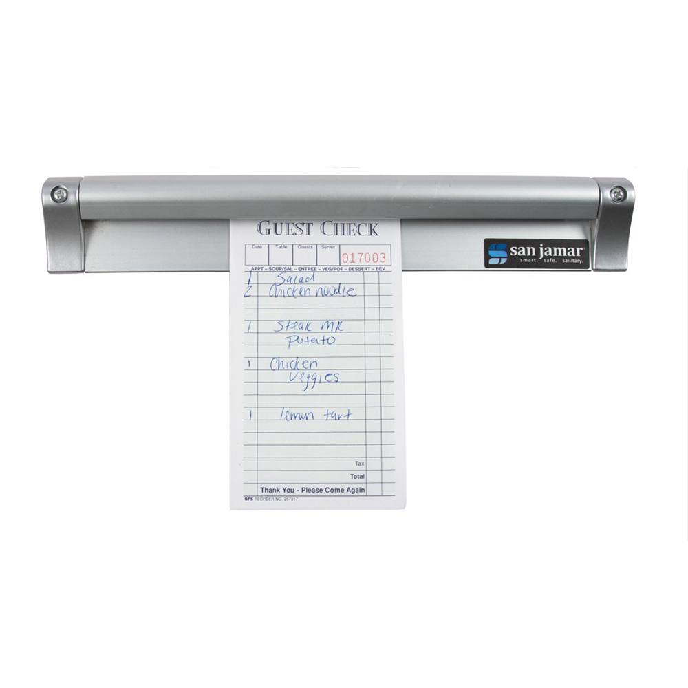 "San Jamar CK6530A Slide Check Rack, 30"" Long, Aluminum"