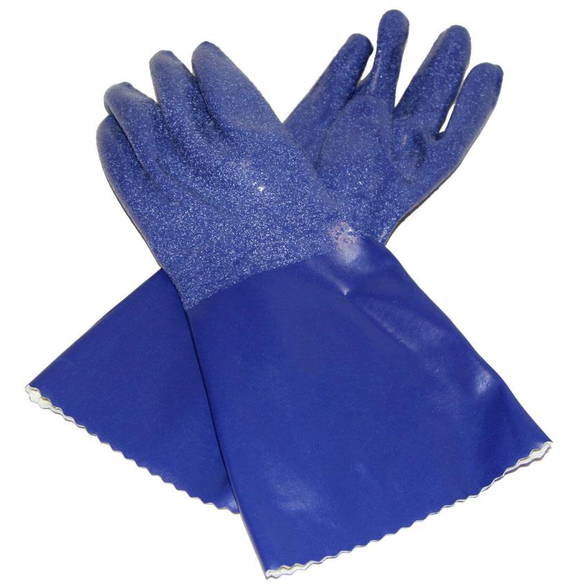 "San Jamar CP14-XL 14"" X-Large Gloves w/ Cotton Lining - Nitrile, Blue"