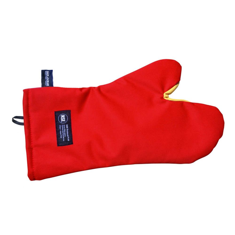 San Jamar CTC17 17-in Conventional Oven Mitt w/ 500-F Heat Protection, Magnet & Loop, Kevlar