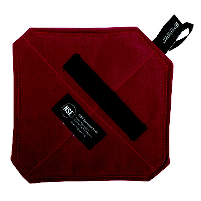 "San Jamar CTFHP88 Cool Touch Flame Pot Holder w/ Wrist Strap - 8x8"", Kevlar, Red"