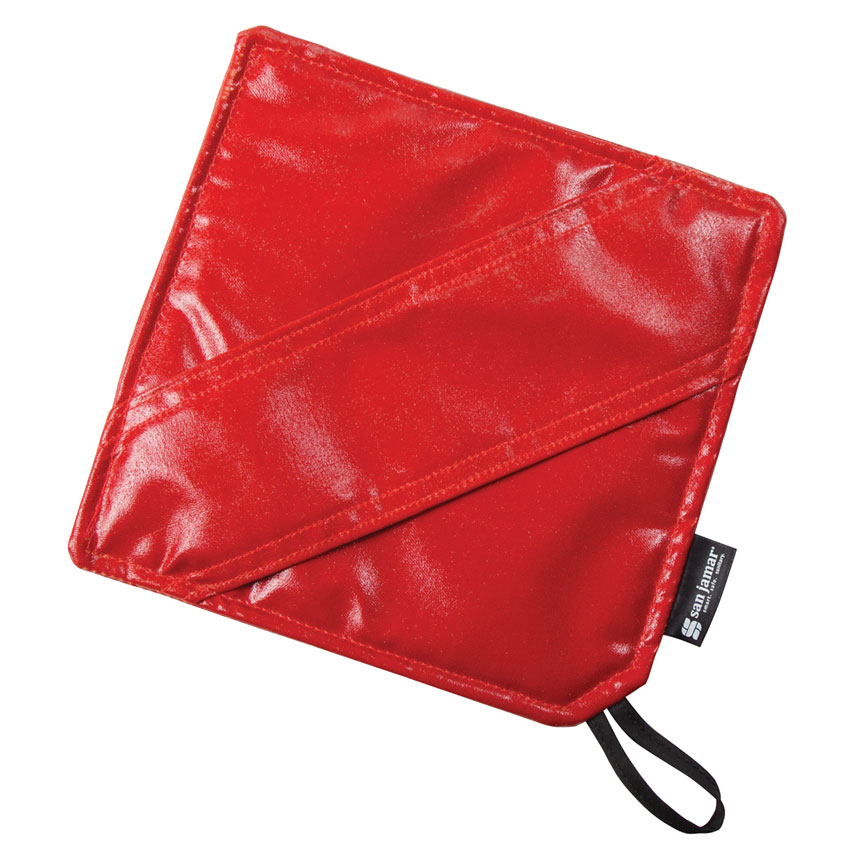 "San Jamar EZKHP88 8"" EZ-Kleen Hot Pad - Poly-Cotton, Red"