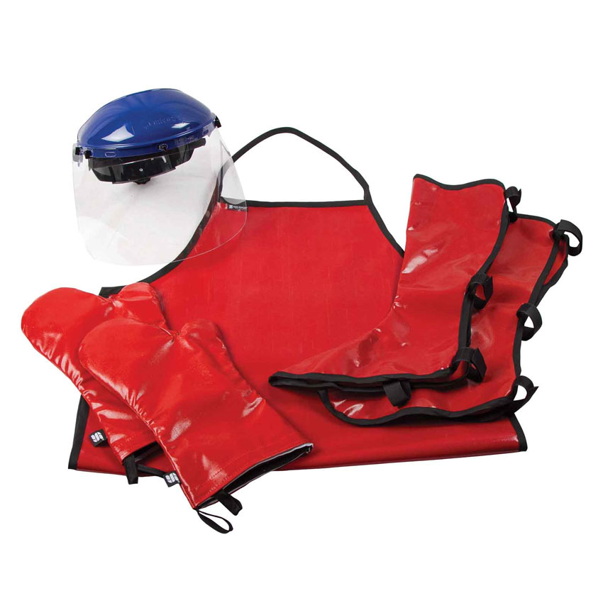 San Jamar EZKKIT EZ-Kleen Kit w/ (2) Oven Mitts, (1) Face Shield, (1) Apron, & (1) Shin Guard
