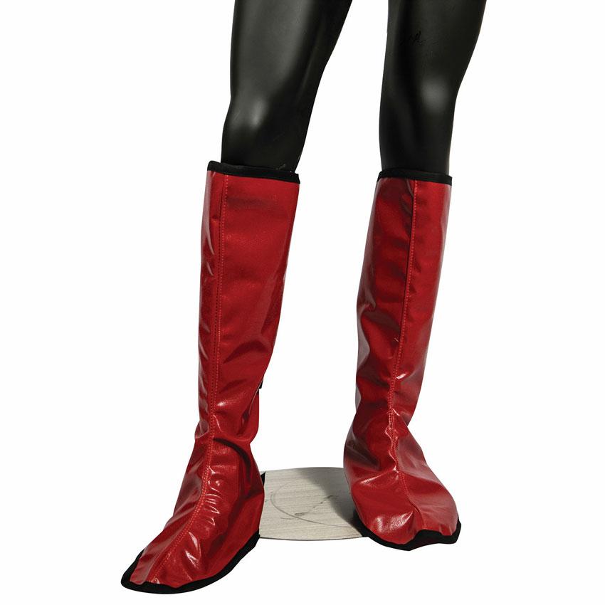 San Jamar EZKSHG EZ-Kleen Shin Guards w/ Adjustable Straps - Poly-Cotton, Red