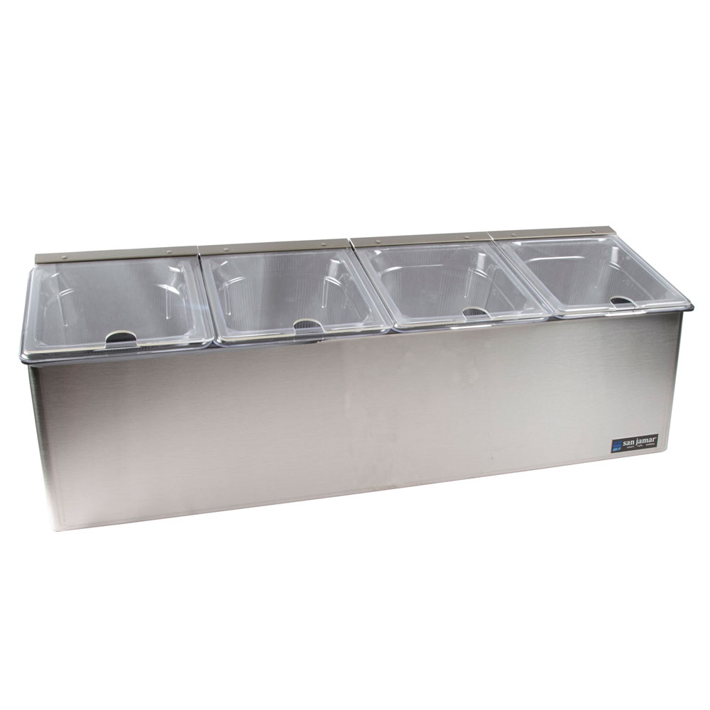 San Jamar FP8245NL Self-Service Center, (4) 1/6 Pan, (4) Notched Lids, Stainless
