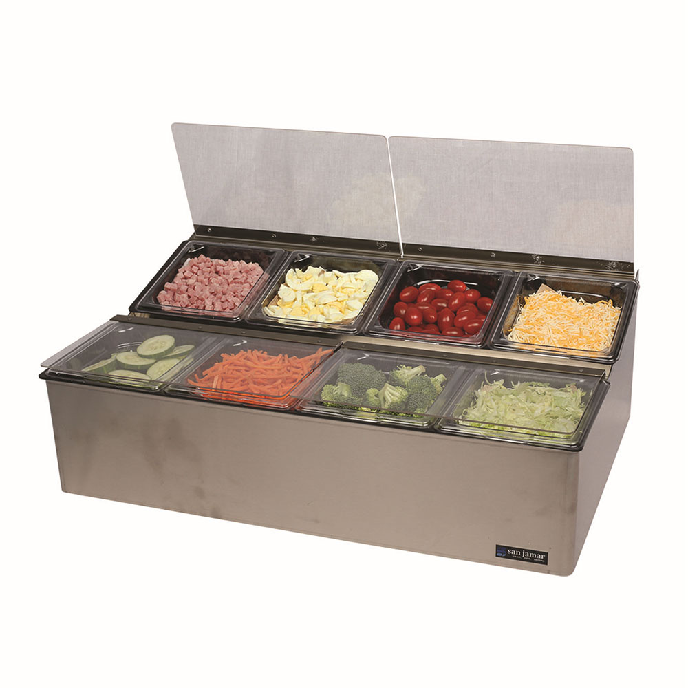San Jamar FP9248FL Countertop Condiment Tray, Chilled, (8) 1/6 Size Pans, (4) Lid, Stainless