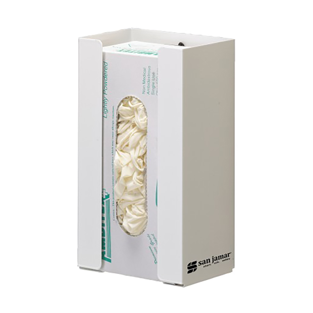 San Jamar G0802 White Disposable Glove Dispenser (1 box cap.)
