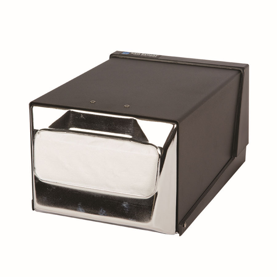 San Jamar H3001BKC Napkin Dispenser, Counter Top, 300 Fullfold Napkins, Black and Chrome