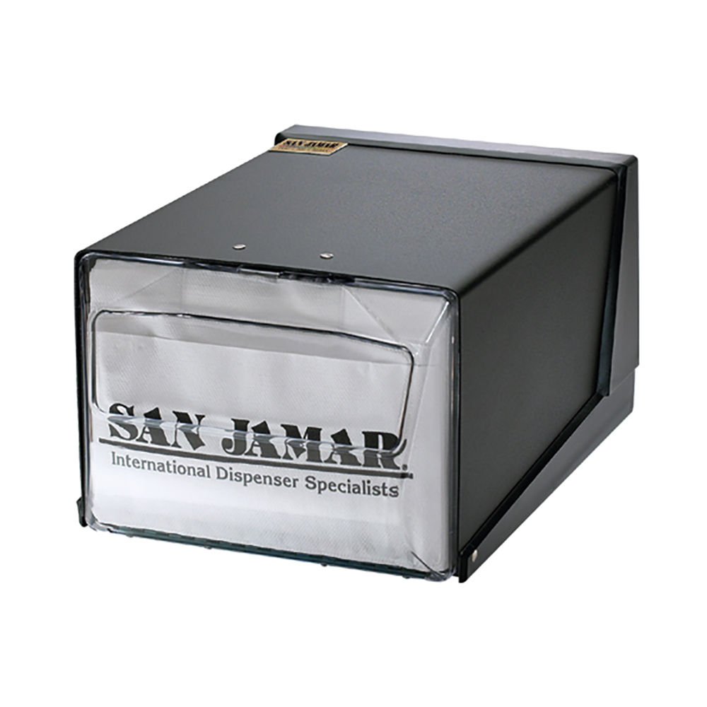 San Jamar H3001CLBK Countertop 300 Fullfold Napkin Dispenser, Clear & Black