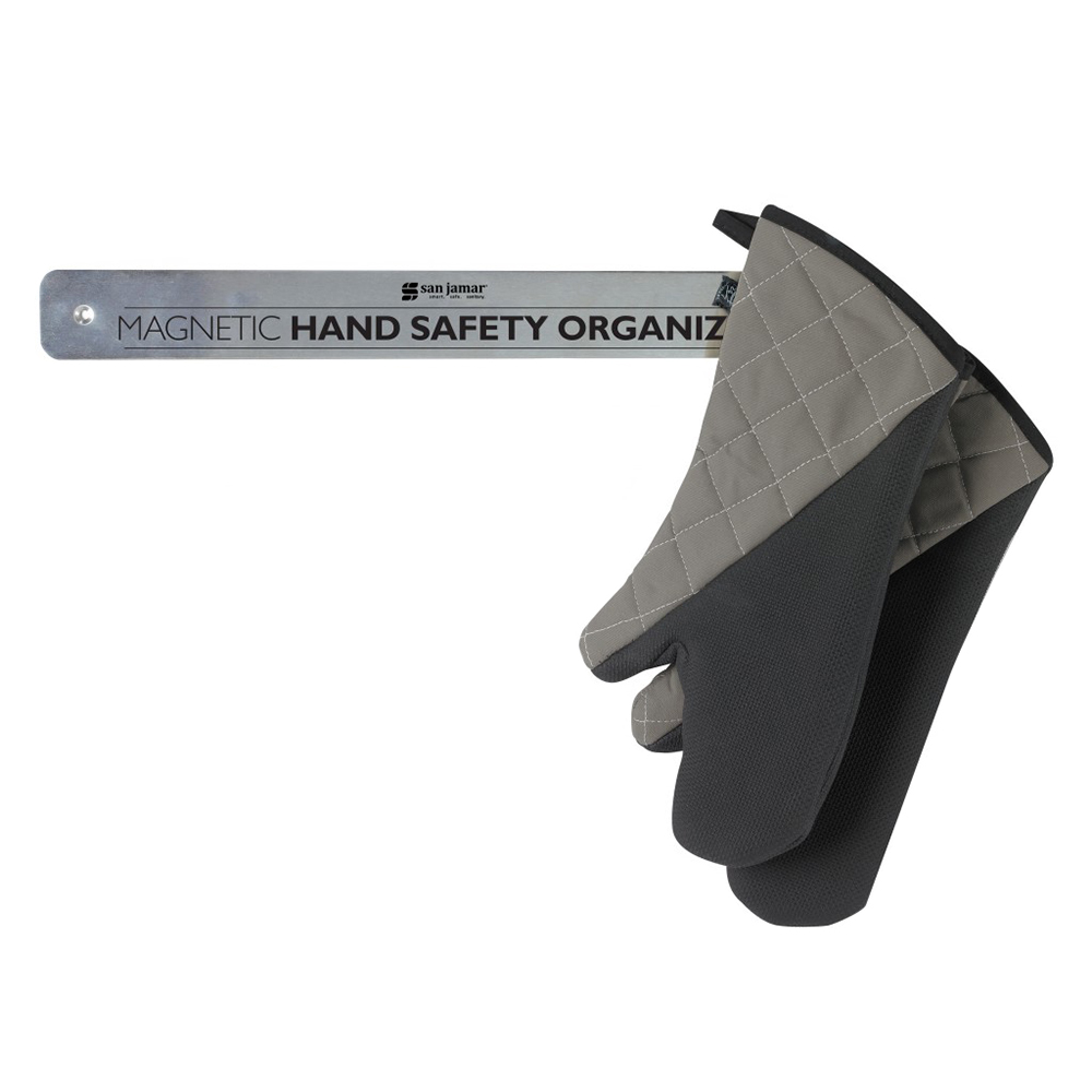 """San Jamar HO1000 Hand Safety Organizer, Stores & Grabs Mitts Magnetically, 18 x 2"""""""