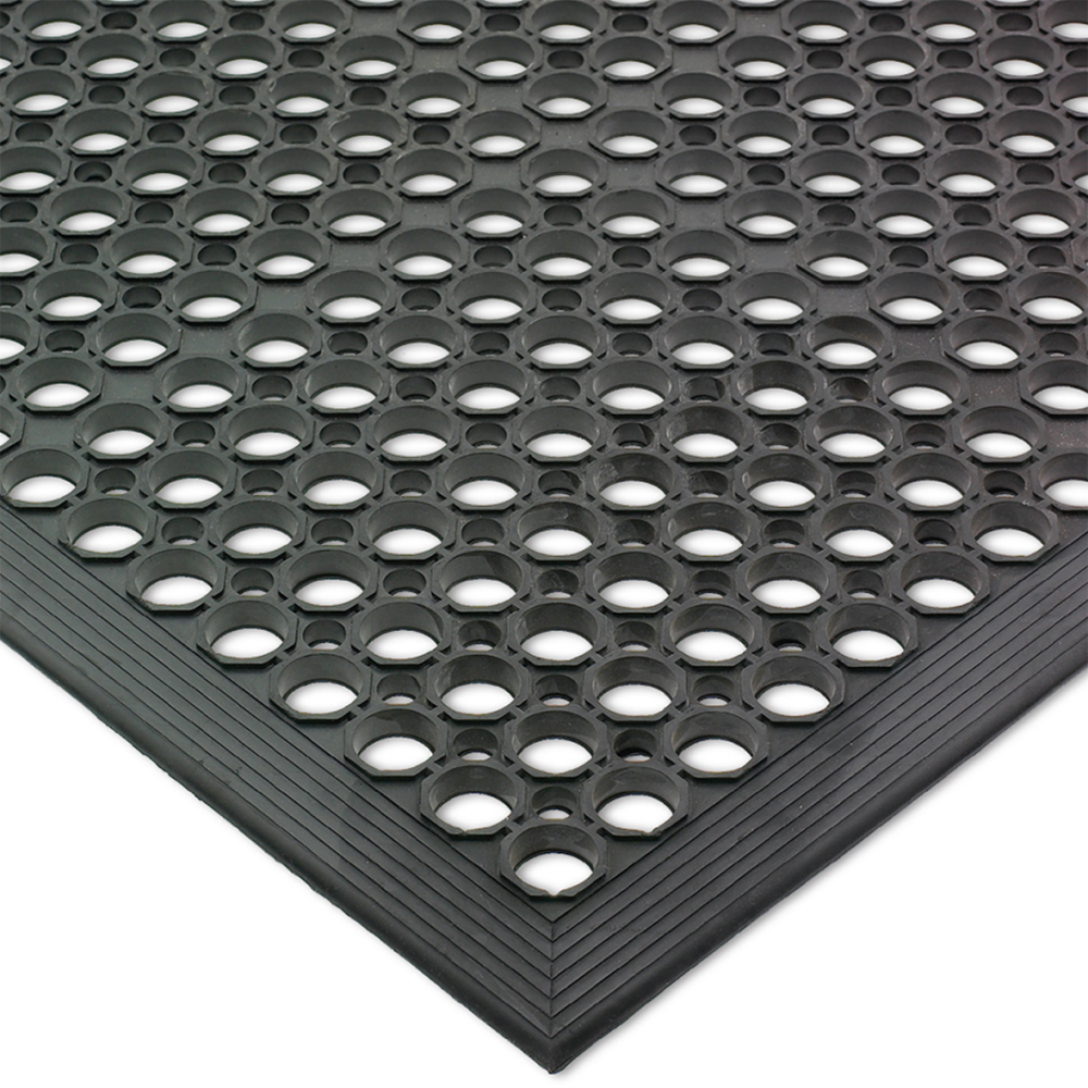 "San Jamar KM1100 Kitchen Mat, Rubber, Anti-Slip, 36"" x  60"", Grease-Resistant, Black"