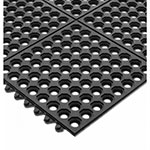 "San Jamar KM1140B Rubber Bar Mat, Anti-Slip & Grease Proof, 36 x 36 x .5"", Black"