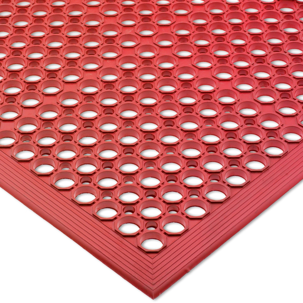"San Jamar KM1200B Rubber Slip Proof Kitchen Mat, 36 x 60 x 1/2"", Red"