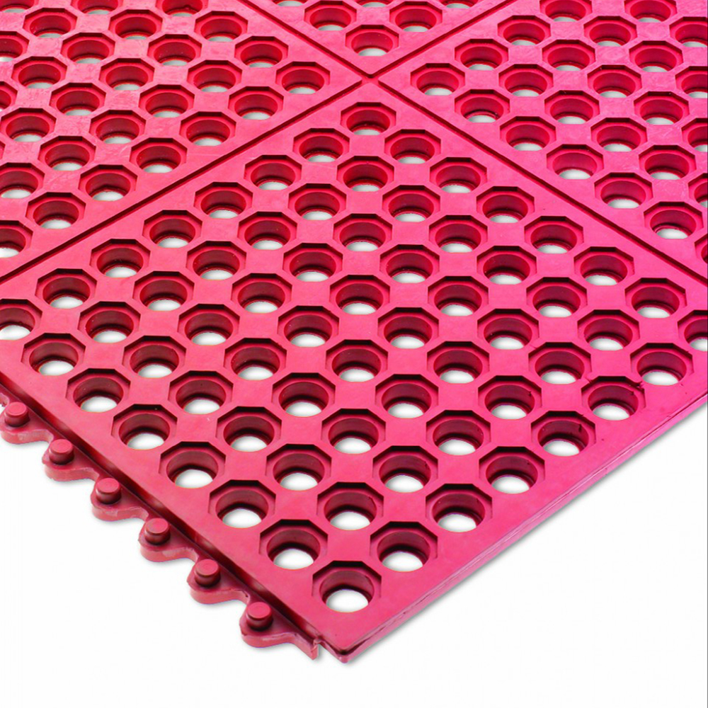 "San Jamar KM1240B Rubber Kitchen Mat, Anti-Slip, Grease Proof, 36 x 36"", Bagged, Red"