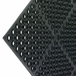 "San Jamar KM2100B Kitchen Mat, Anti-Slip, 36 x 60 x 3/4"" Thick, Bullnose Edge, Black"