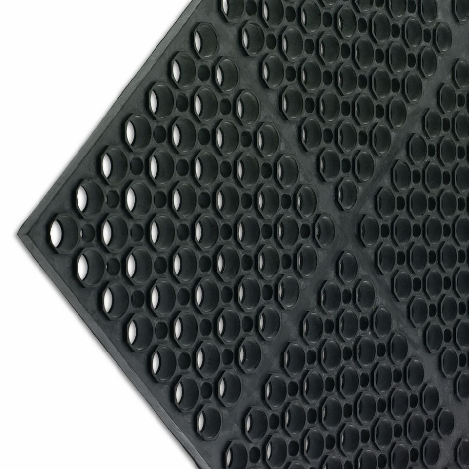 San Jamar KM2100B Kitchen Mat, Anti-Slip, 36 x 60 x 3/4 in Thick, Bullnose Edge, Black