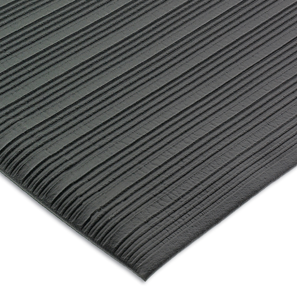 San Jamar KM4100BK Station Mat w/ Beveled Edge & Anti-Fatigue Vinyl Sponge, Black