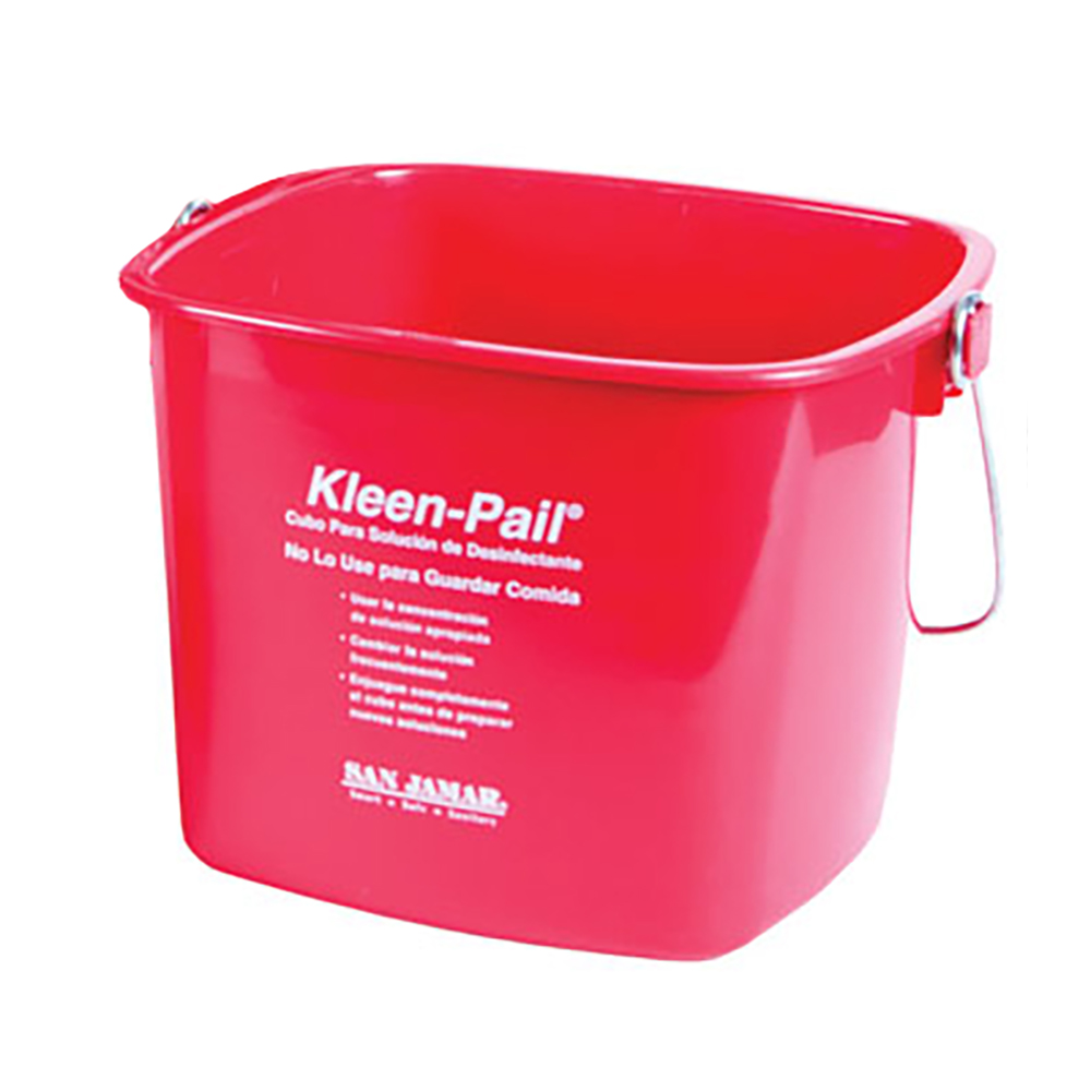 San Jamar KP196RD Kleen-Pail, 6 qt., Plastic, Red - Sanitizing Solution Printing