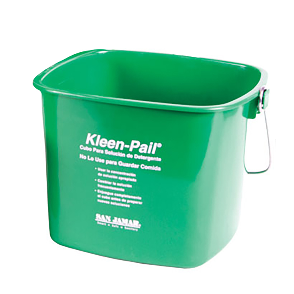 San Jamar KP320GN Kleen-Pail, 10 qt., Plastic, Green - Soaping Solution Printing