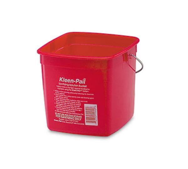 San Jamar / Katchall KP256RD Kleen-Pail 8 qt. Plastic Red Sanitizing Solution Printing Restaurant Supply