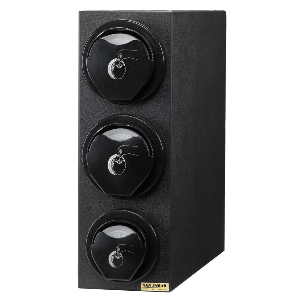 San Jamar L2923BK Counter Lid Dispenser Box System w/ 1-L2200C & 2-L2400C, Blac