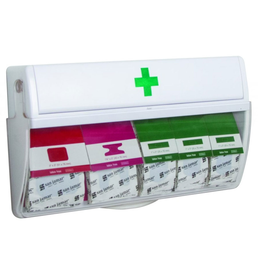 San Jamar MKBD100 Wall-Mount Mani-Kare Bandage Dispenser w/ Patch, Knuckle, & Strip Bandages