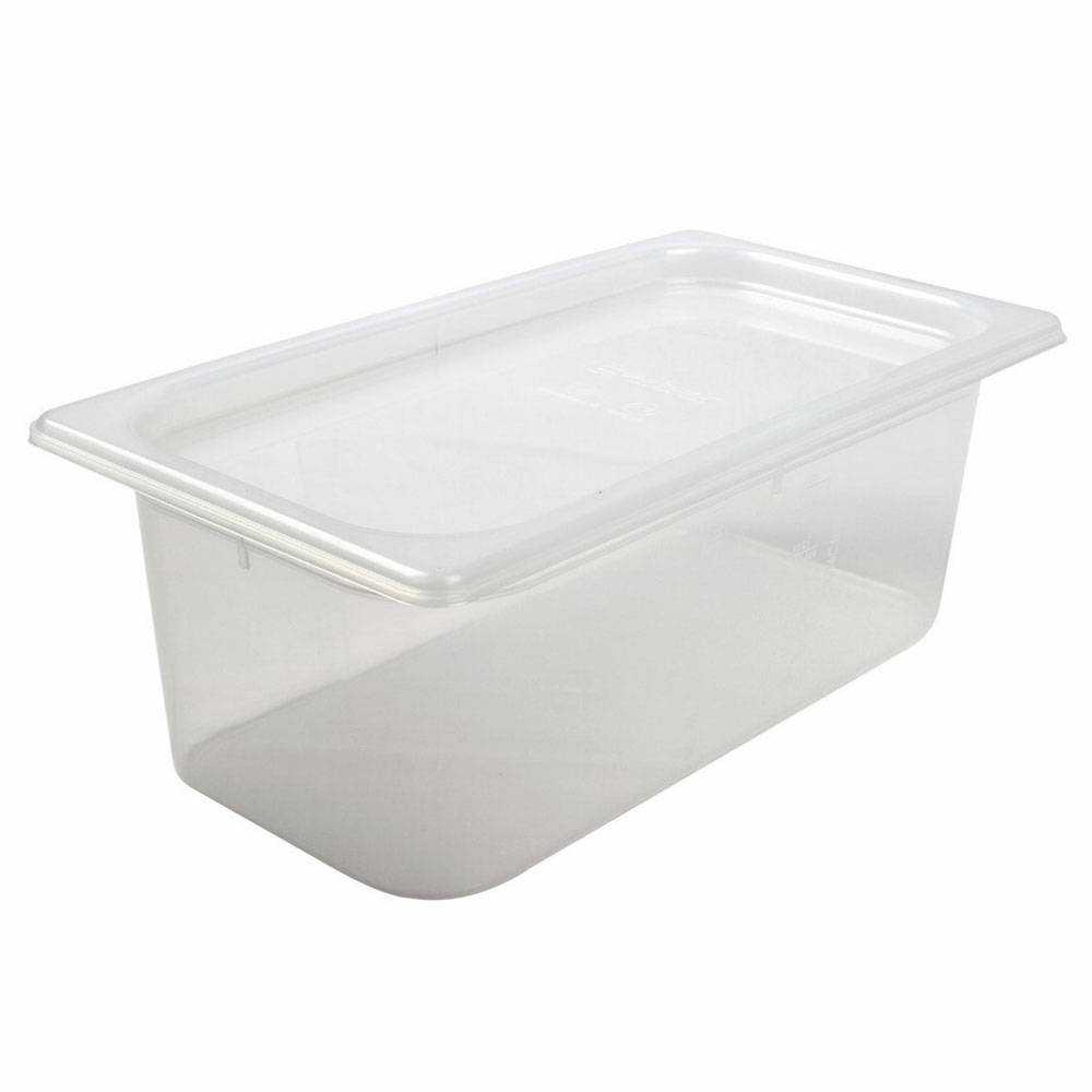 San Jamar MP13 1/3 Size ModPan Food Pan w/ Lid - Stackable, Polypropylene, Clear