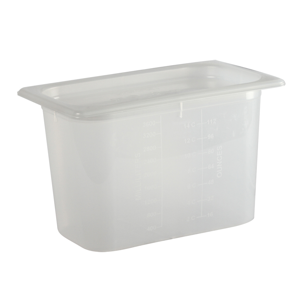 San Jamar MP14RD 1/4 Size ModPan Food Pan w/ Lid - Stackable, Polypropylene, Clear