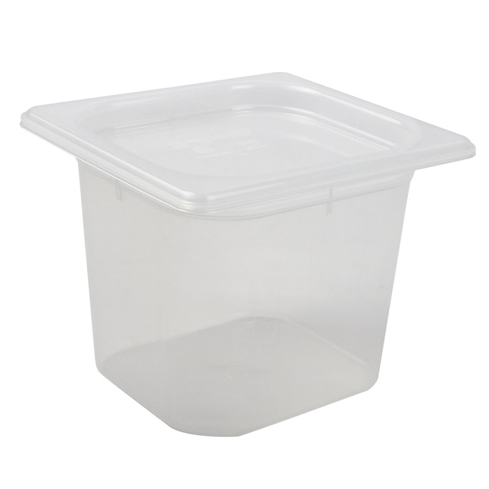 San Jamar MP16 1/6 Size ModPan Food Pan w/ Lid - Stackable, Polypropylene, Clear