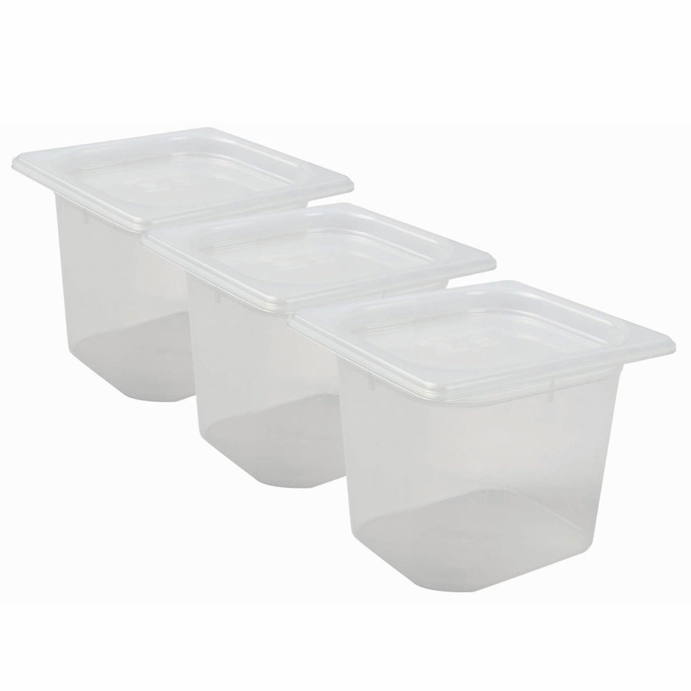 San Jamar MP16RD 1/6 Size ModPan Food Pan w/ Lid - Stackable, Polypropylene, Clear