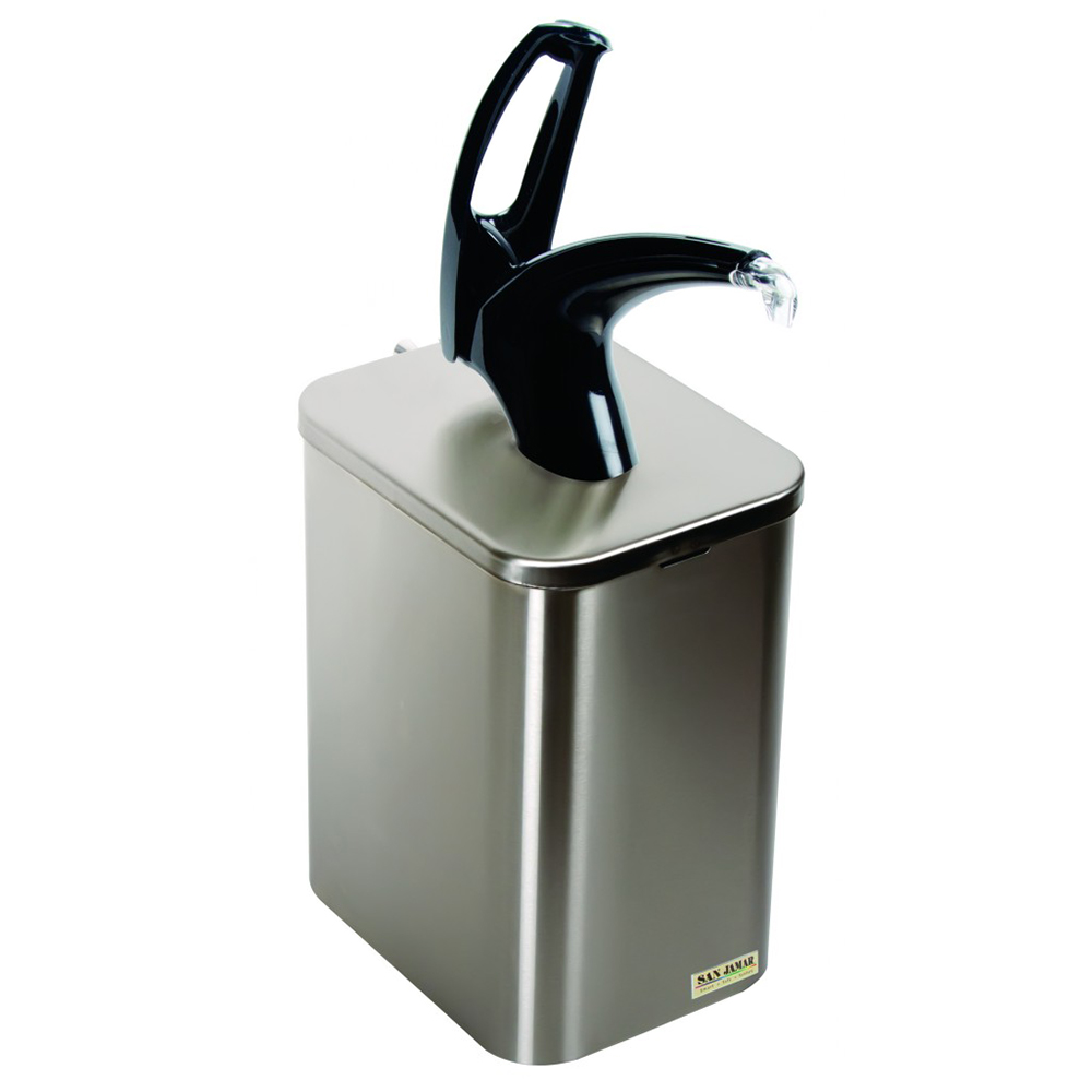 San Jamar P4900BK Condiment Dispenser w/ Lid, Liner, Adapter, Plug, Dip Tube & Black Pump