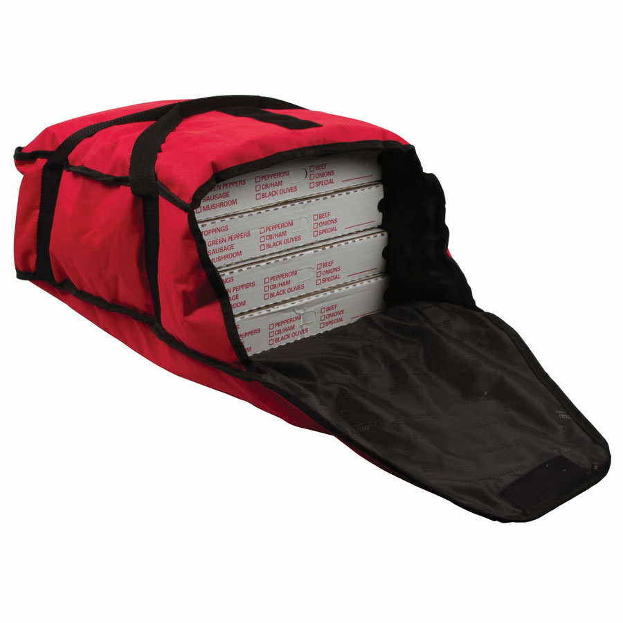"San Jamar PB17 Pizza Delivery Bag - 17"" x 16.5"" x 5"", Nylon, Red"