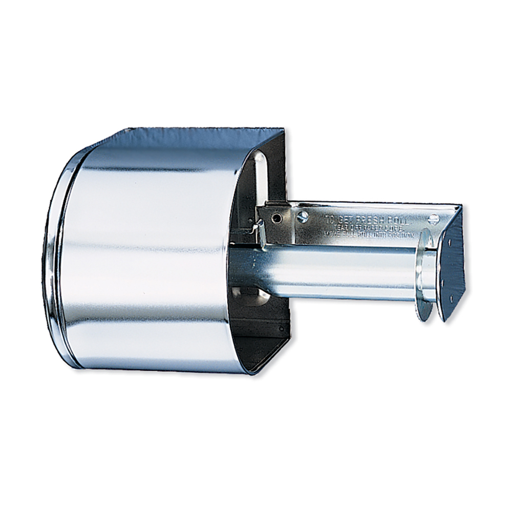 San Jamar R1500XC Tissue Dispenser, 2 Rolls, 1 Covered, Key Lock, Bright Chrome Finish