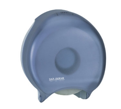 "San Jamar R2000TBL 9"" Single Jumbo Toilet Tissue Dispenser, Classic, Transparent Blue"