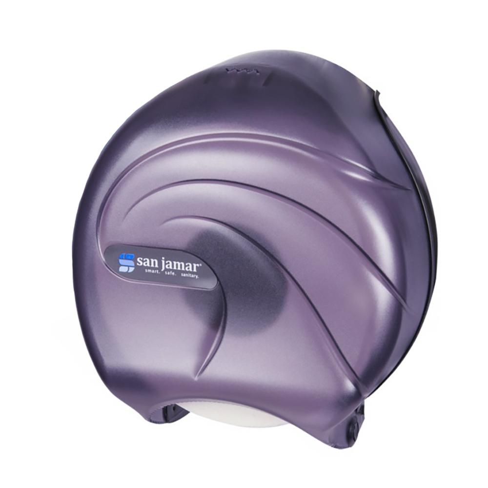 "San Jamar R2090TBK 9"" Single Jumbo Toilet Tissue Dispenser, Translucent Black Pearl"