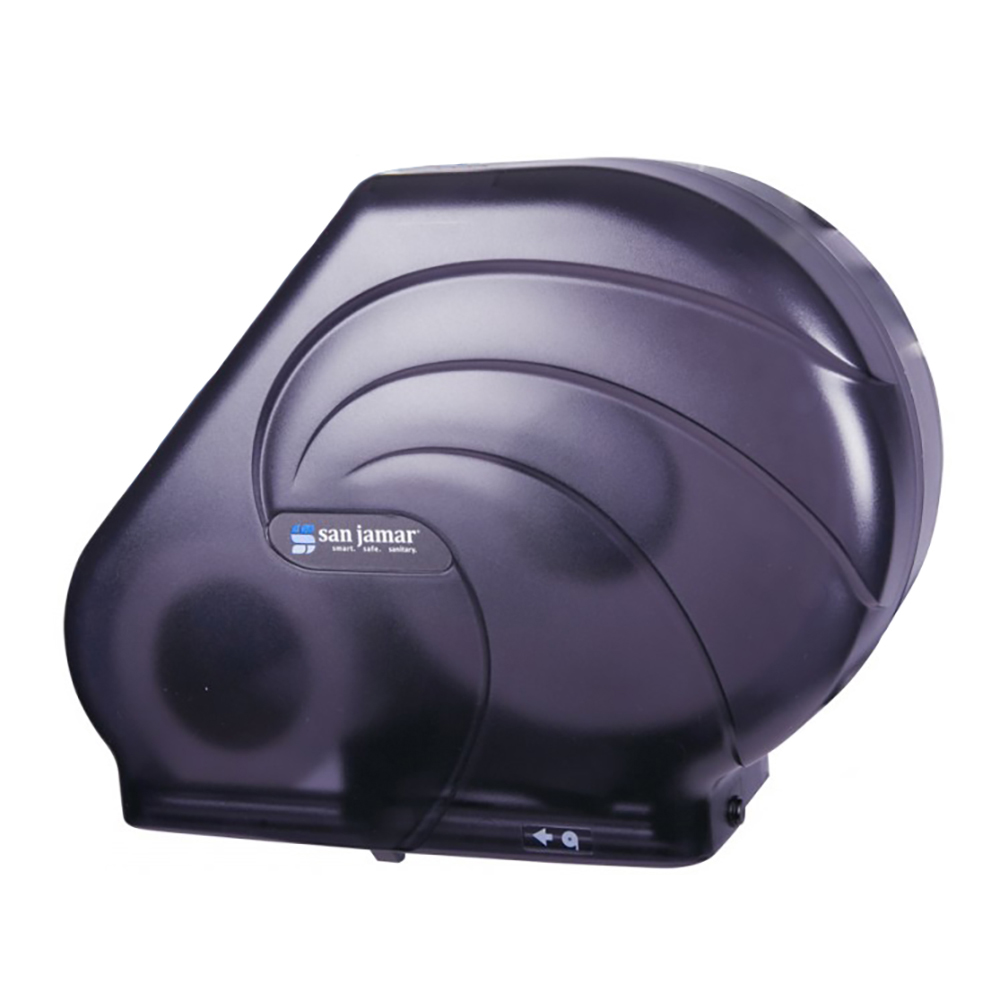 San Jamar R3090TBK Oceans Kolor-Cut Reserva Jumbo Toliet Tissue Dispenser, Translucent Black
