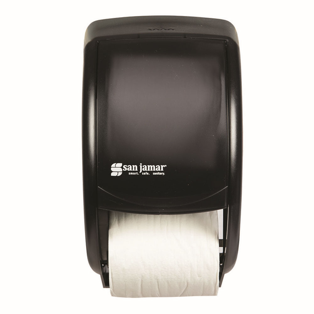San Jamar R3500TBK Classic Duett Standard Bath Tissue Dispenser, 2 Rolls, Translucent Black Pearl