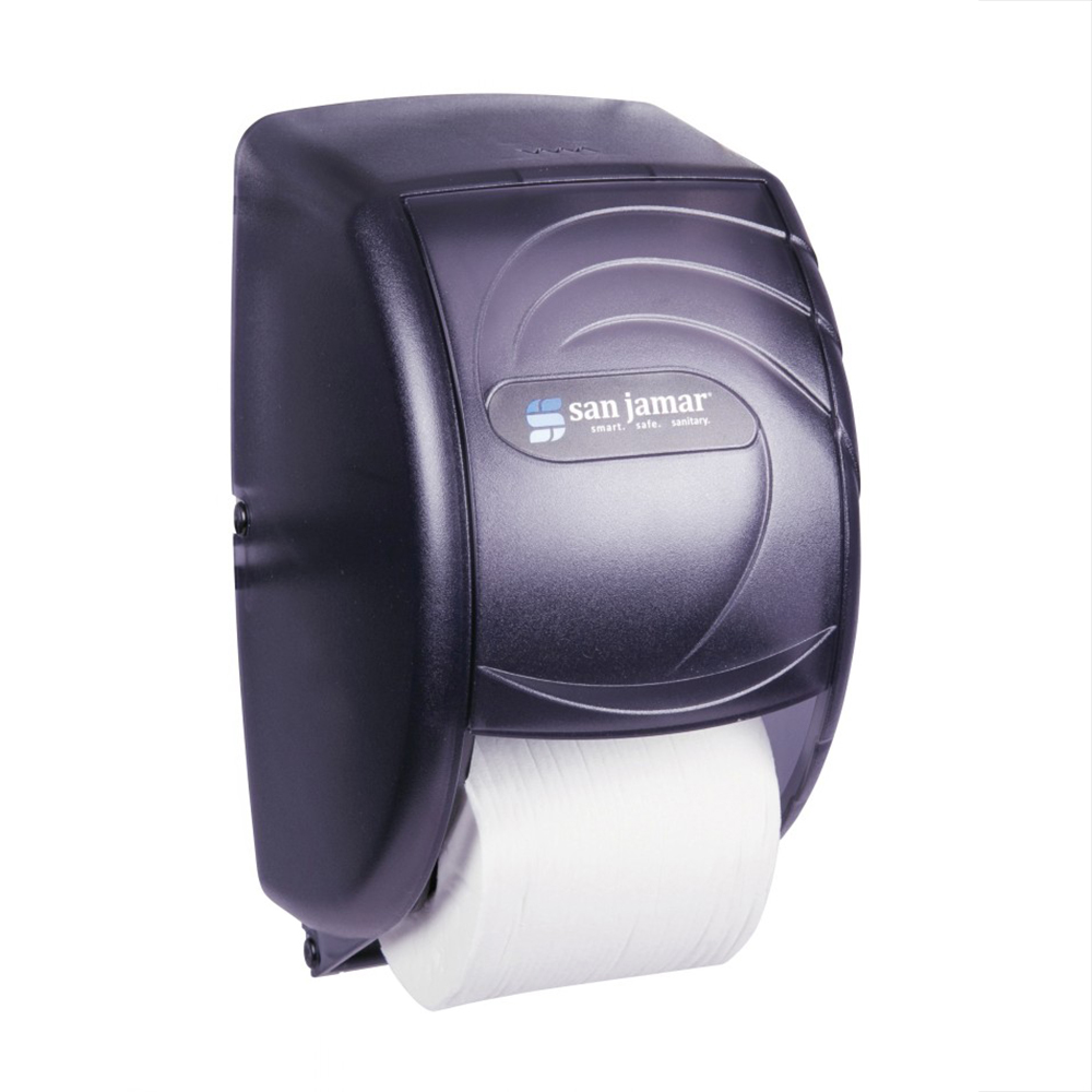San Jamar R3590TBK Ocean Kolor-Cut Duett Bath Tissue Dispenser, Holds 2 Rolls, Trans Black Pearl