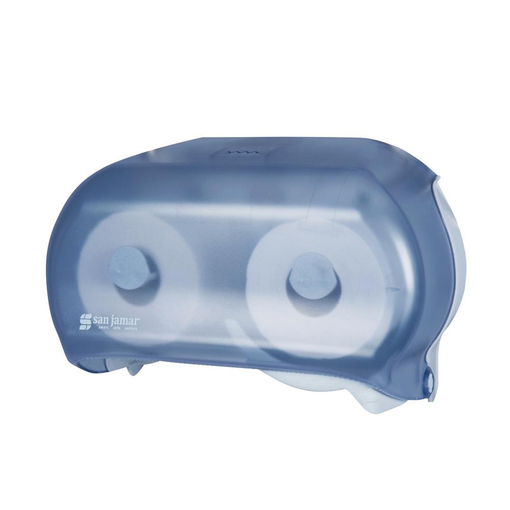 "San Jamar R3600TBL Classic Versatwin Bath Tissue Dispenser, (2) 5-1/2"" Rolls, Trans Arctic Blue"