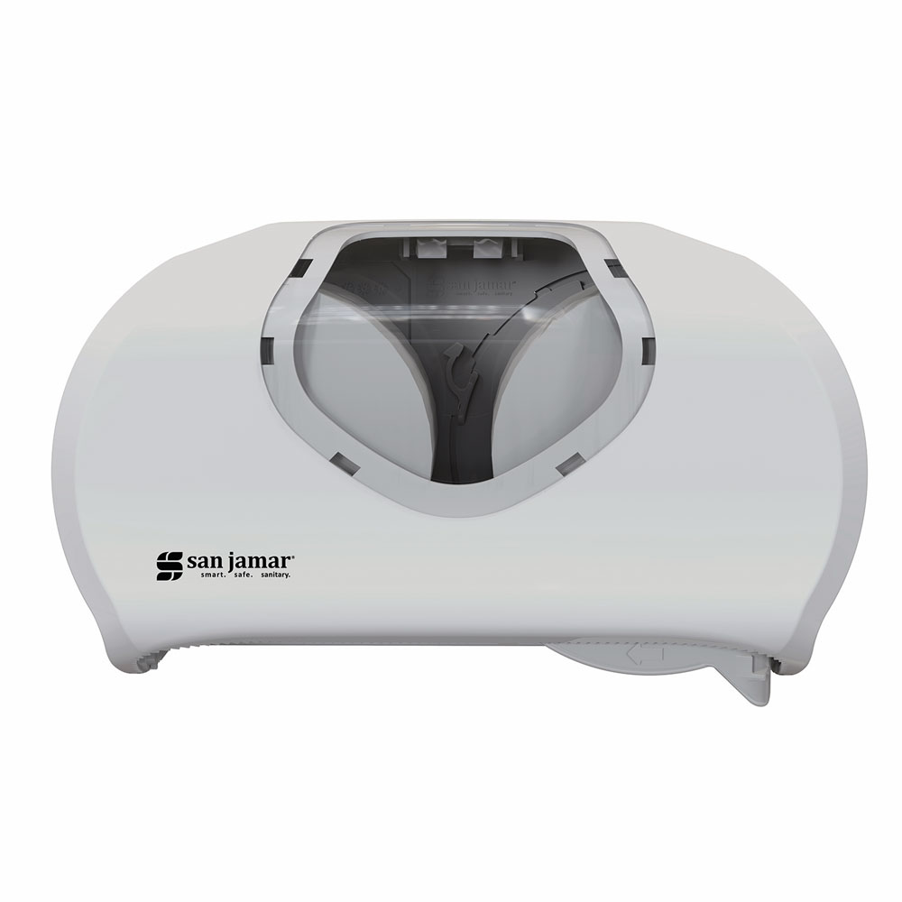 San Jamar R3670WHCL Wall-Mount Toilet Paper Dispenser w/ (2) Roll Capacity - Plastic, White/Clear