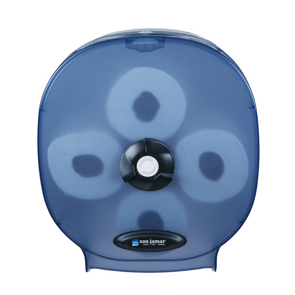 San Jamar R3800TBL 4-Station Carousel Bath Tissue Dispenser w/ 5-in Roll Capacity & Plastic, Arctic Blue