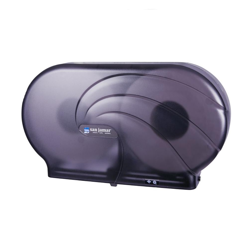 San Jamar R4090TBK Twin 9 in Jumbo Toilet Tissue Dispenser, Oceans, Translucent Black Pearl
